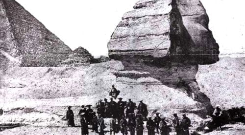 Samurai in front of Sphinx, 1864